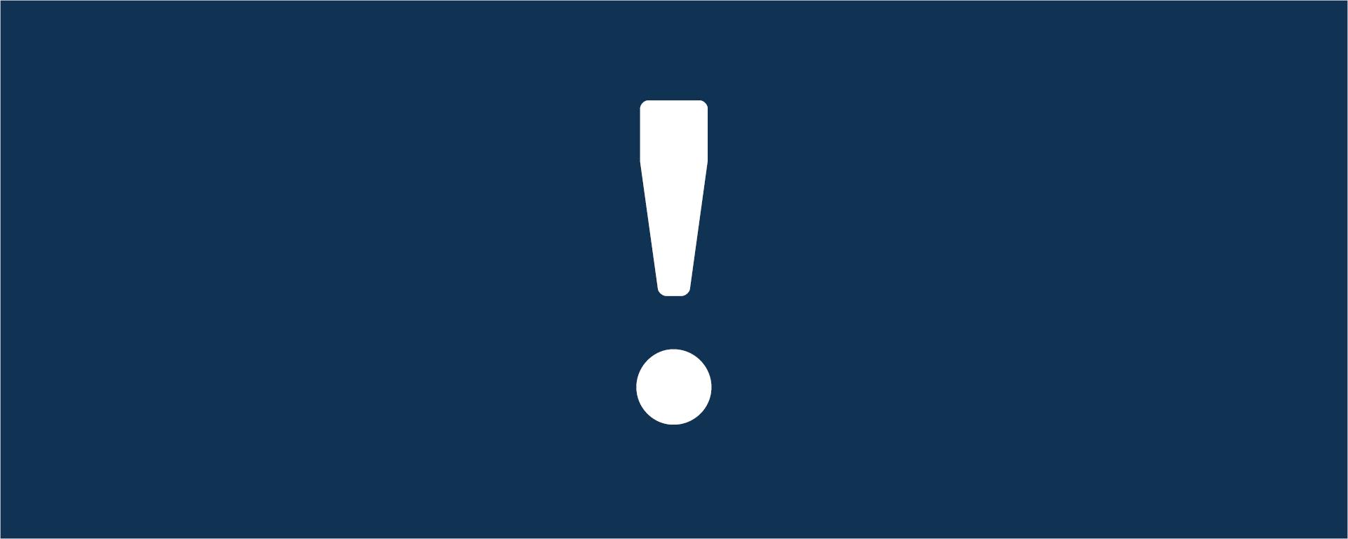 Pancarta de un icono de exclamación blanco sobre fondo azul marino.