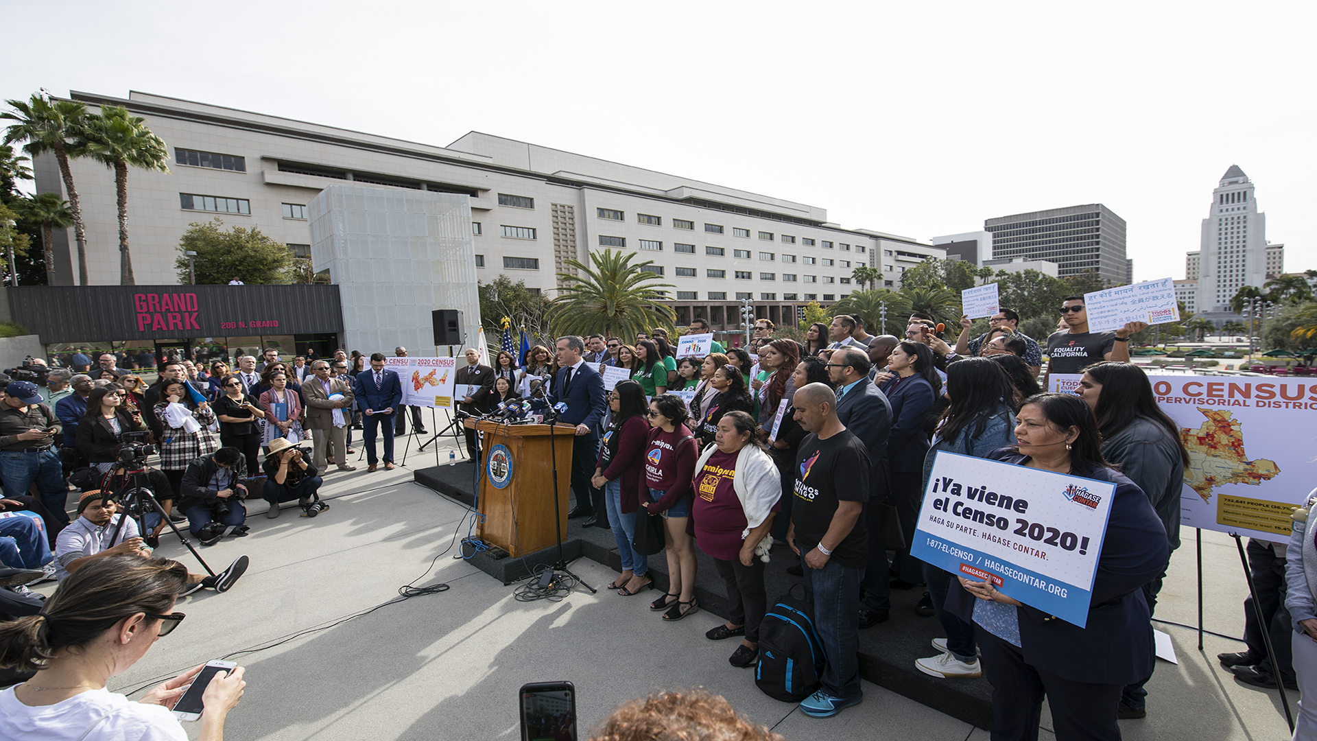 Mayor Garcetti with a crowd of people at Census news conference event.