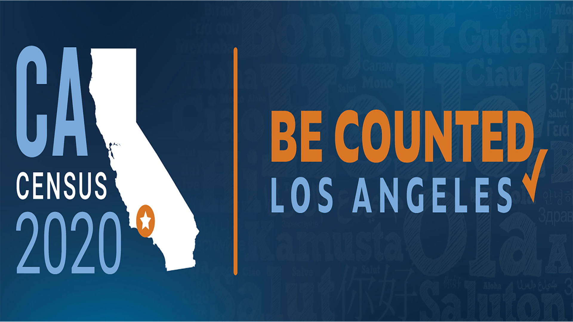Banner of California Map Logo with text Census 2020 Be Counted Los Angeles.