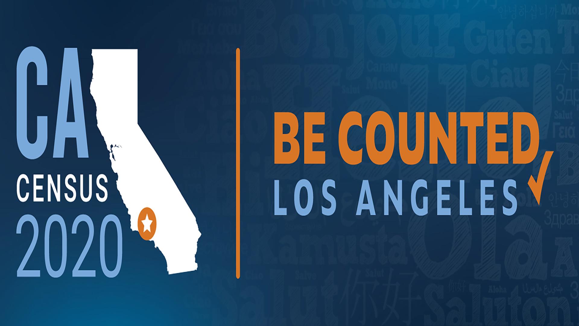 โลโก้รูปแผนที่รัฐแคลิฟอร์เนีย พร้อมข้อความการจัดทำสำมะโนประชากรในปี 2020 Be Counted Los Angeles