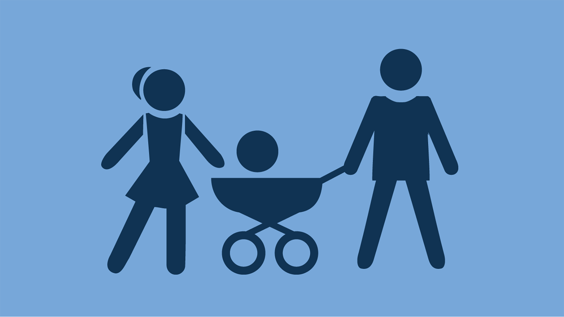 Icon of light blue figure family with a baby carriage symbol.
