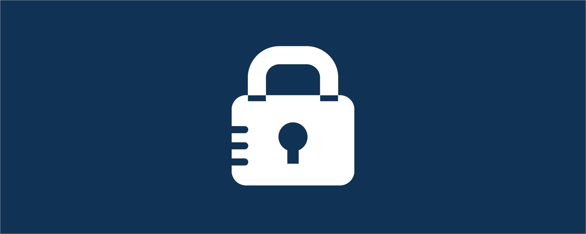 Biểu ngữ có hình một biểu tượng khóa màu trắng trên nền màu xanh hải quân.